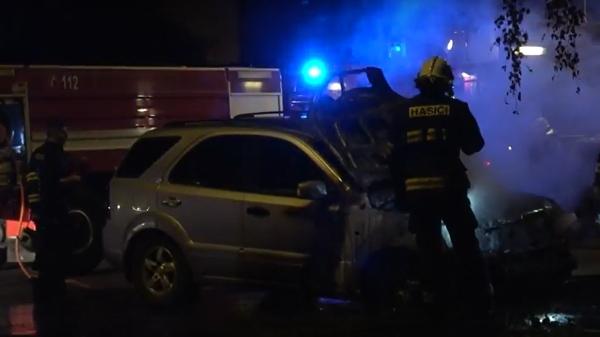 Požár auta v Mariánských Lázních